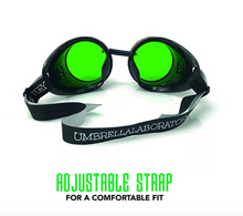 Load image into Gallery viewer, Steampunk Goggles in Victorian style with Compass Design and Emerald Green Lenses