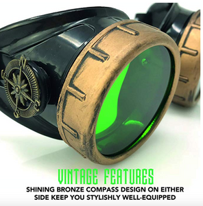 Steampunk Goggles in Victorian style with Compass Design and Emerald Green Lenses