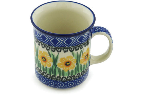 Polish Pottery 10 oz Mug Yellow Daffodil Field UNIKAT