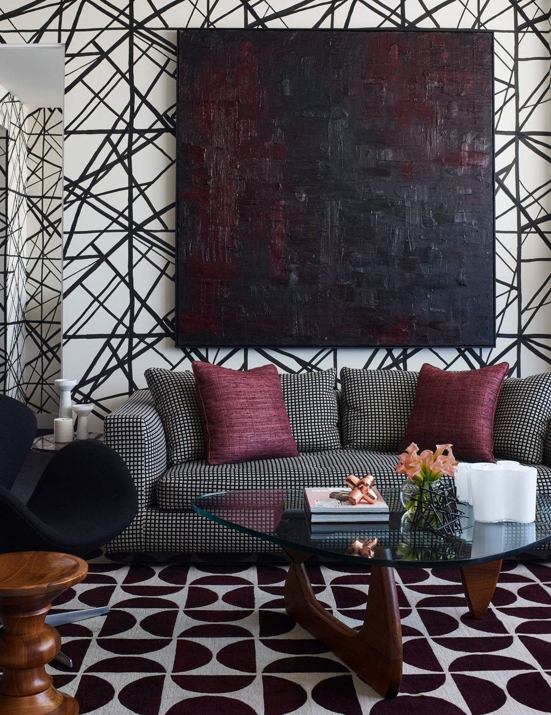 Statement Wallpaper - 7 Ways To Make a Statement In Your Living Room - LuxDeco.com Style Guide