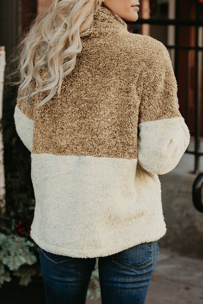 Orsle Fluffy Fleece Patchwork Pullover Hoodies