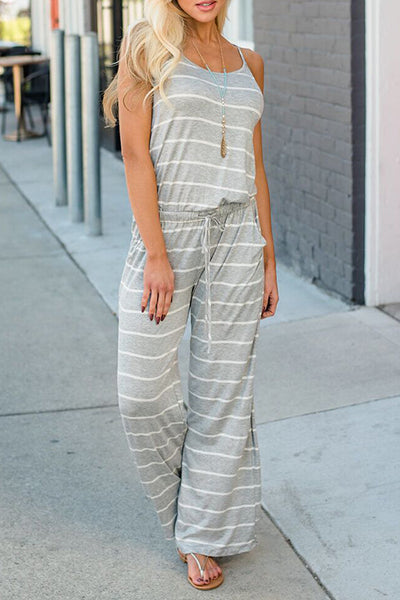 Orsle Spaghetti Strap Striped Black Jumpsuit