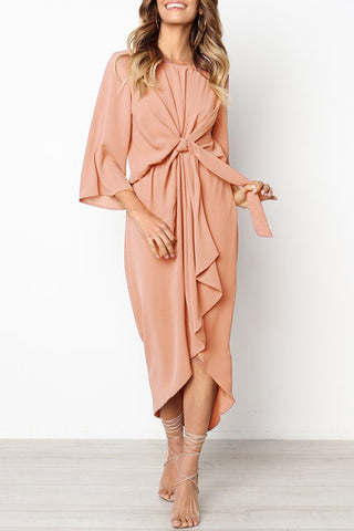 Orsle Knot Design Pink Ankle Maxi Dress