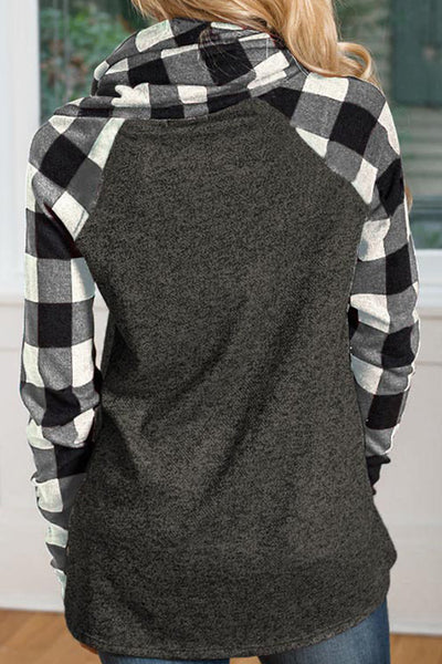 Orsle Plaid Patchwork Heaps Collar Long Sleeve Hoodies