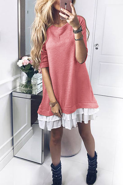 Orsle Color Block Ruffles Long Sleeve Patchwork Shift Dress