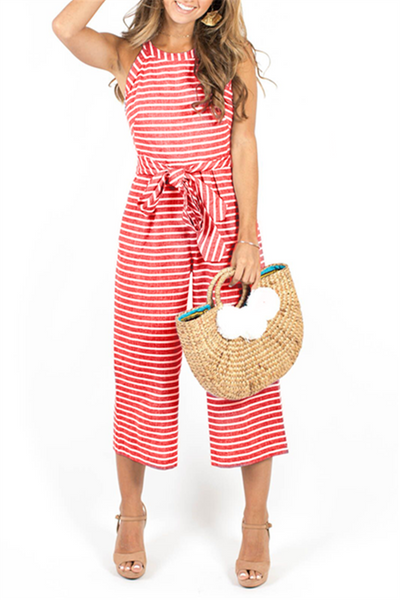 Orsle Bohemian Round Neck Striped Jumpsuits
