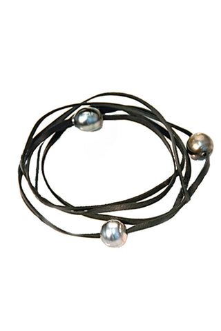 Wire Bangle -Fresh Water Pearl & Sterling Silver
