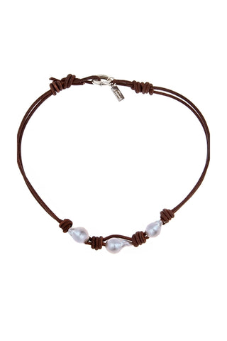 White Topaz Drip Leather Choker