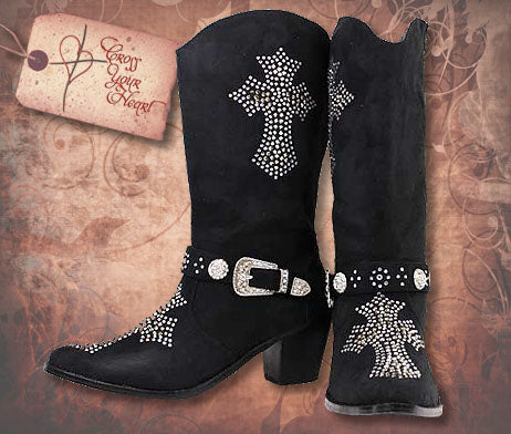 Boots with Rhinestone Cross