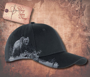 Cap with Grizzly Bear - Black