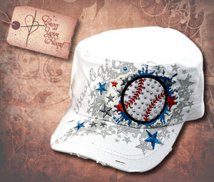 Cap with Baseball - White