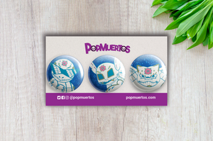 "Squirtle Evolutions - Pokemon Day of the Dead 1"" Pin 3-pack"