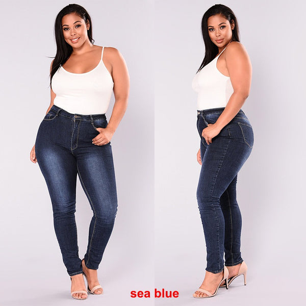 Women Plus Size Jeans High Waisted Stretch Slim Skinny Jeans Hipster Butt Lift Jeans For Curvy Women - kats closet1