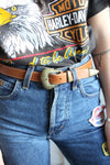 Vintage 70s Buckle Tan Leather Western Belt