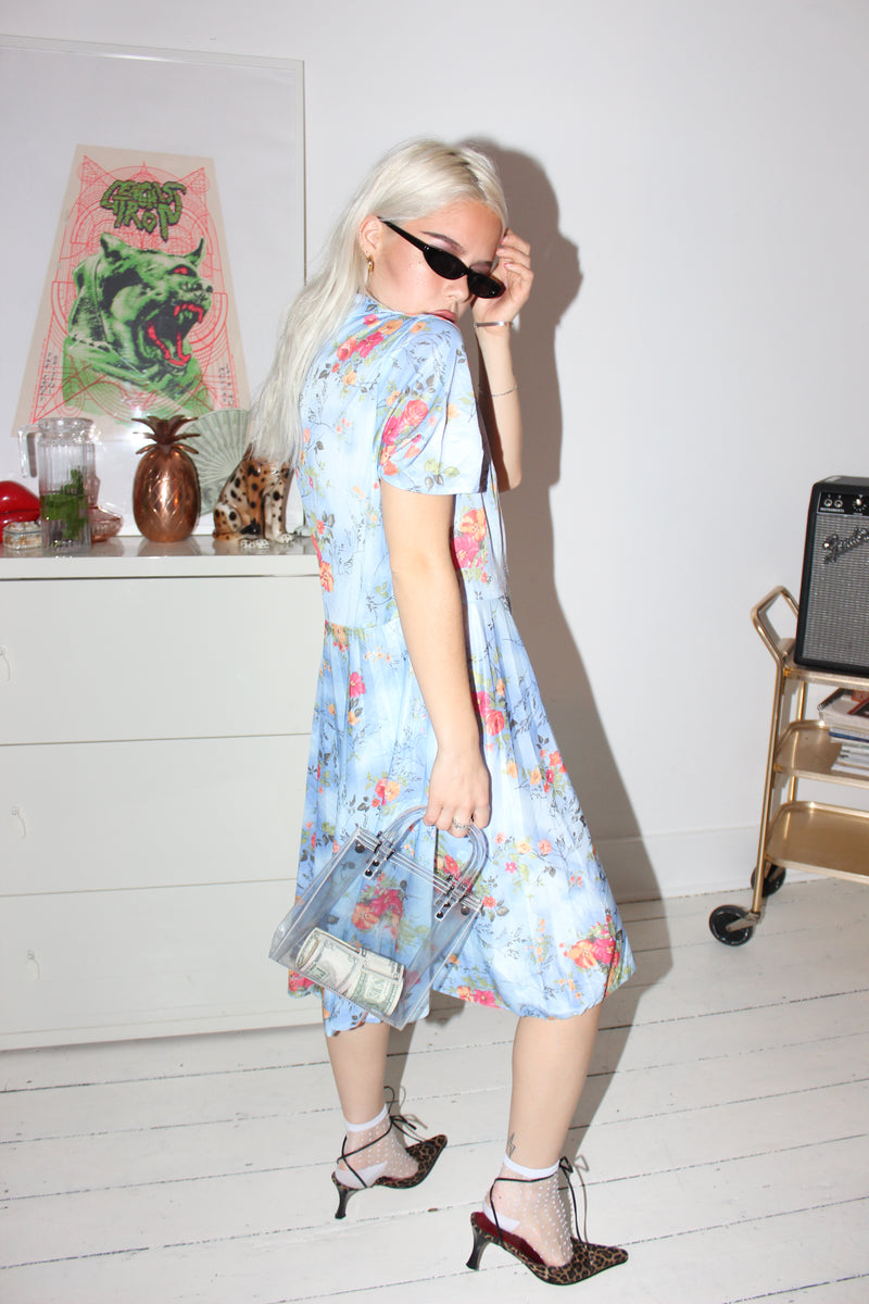 Vintage 70s Baby Blue Pleated Floral Midi Dress