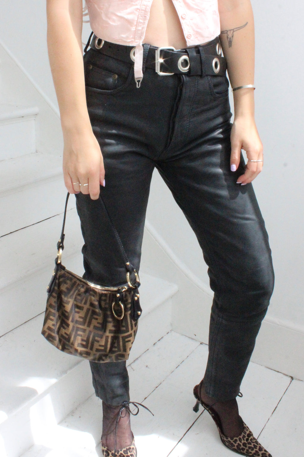 Vintage 90s Black High-Waisted Matt Leather Biker Trousers