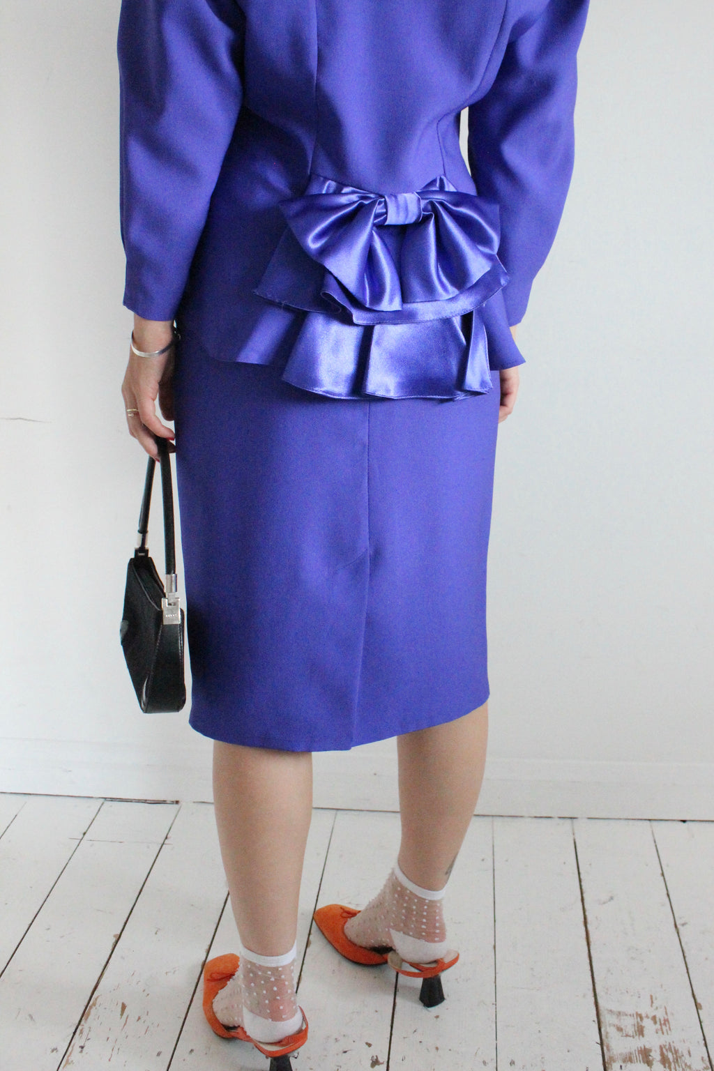 Vintage 80s Purple Peplum Blazer & Skirt Two-Piece