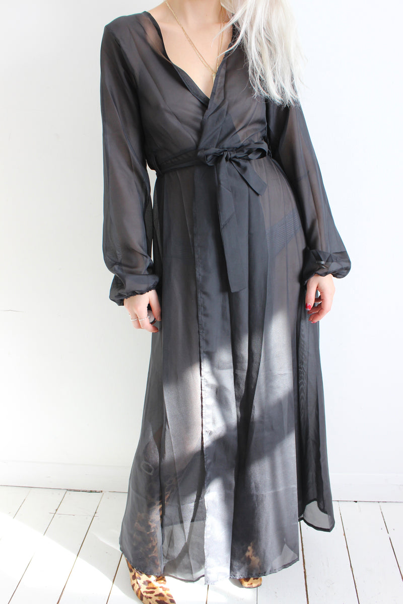 Vintage 60s Sheer Black Long Nightgown