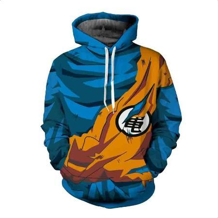 Pullover Hoodie - Dragon Ball Z Hoodie Featuring Battle Torn Goku Uniform With Kamesennin Symbol 亀