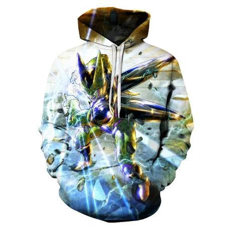 Pullover Hoodie - Dragon Ball Z Hoodie Featuring Cell セル Powering Up