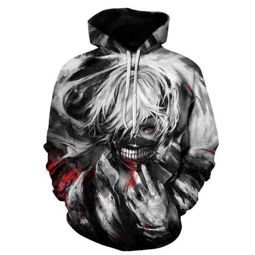 Pullover Hoodie - Tokyo Ghoul Hoodie 東京喰種 Kaneki With Blood