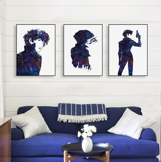 Wall Art - Cowboy Bebop Poster Canvas カウボーイビバップ Spike Spiegel Silhouette With Gun