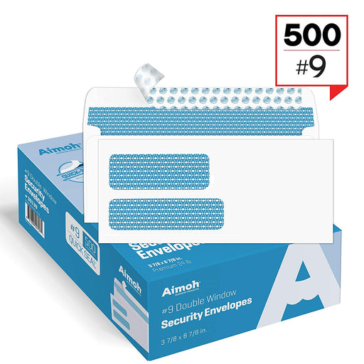 #9 Envelopes - Double Window - SELF-SEAL - Security Tinted