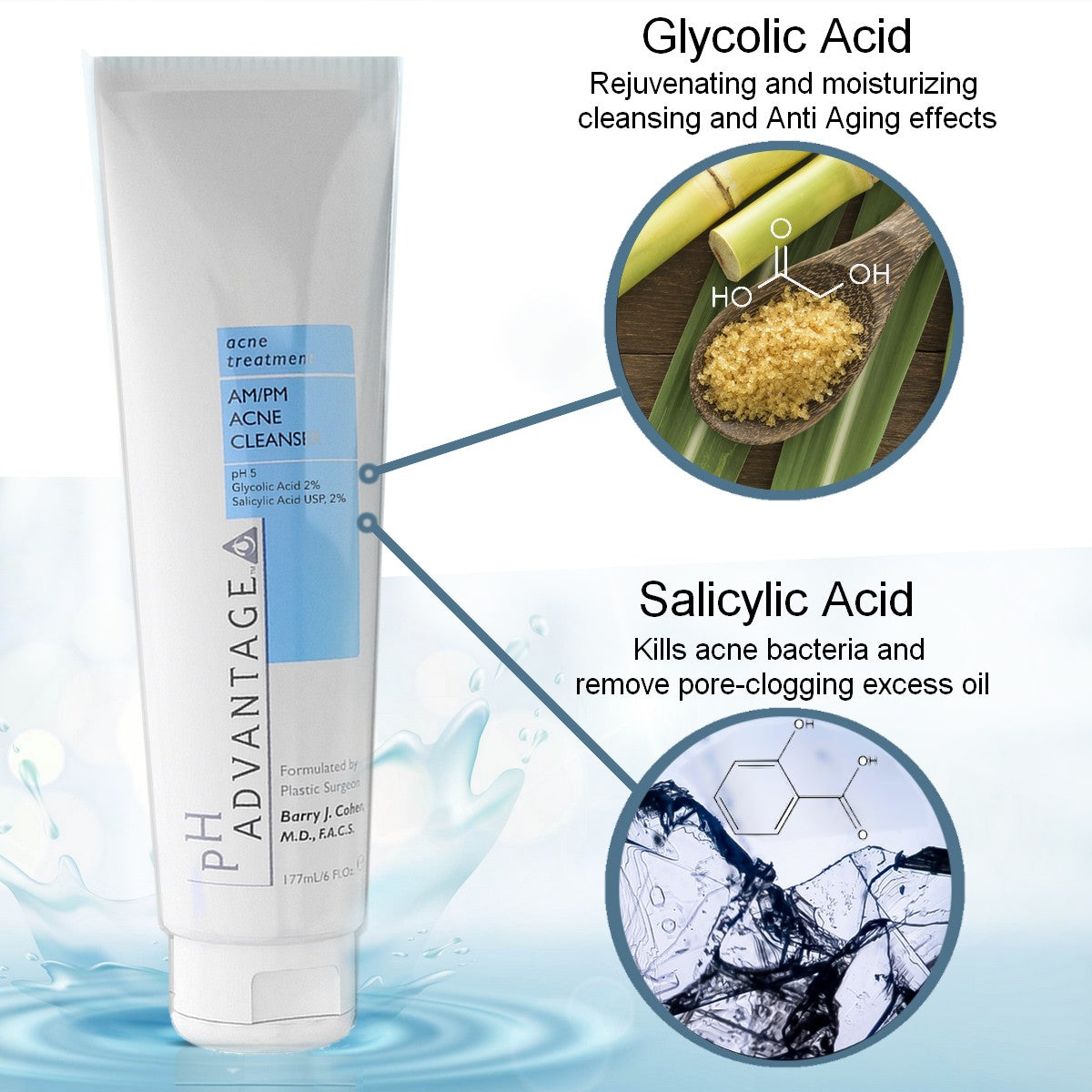 Acne Face Wash Cleanser – Glycolic & Salicylic Acid Luxurious AM/PM Foaming Formula