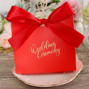 50 PCS Green Wedding Candy Gift Box With Matching Ribbons