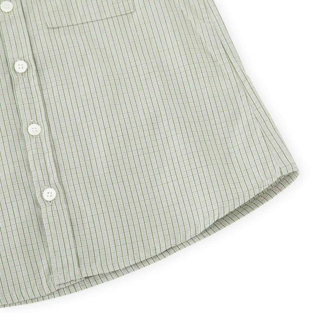 Beige Green Check Demi Pocket Shirts - Kids Edition