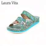 Retro Genuine Leather Handmade Floral Sandals