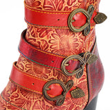 Genuine Leather Printed Block Ankle Boots