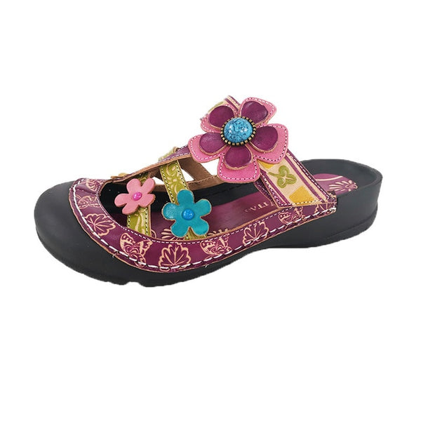 Retro Genuine Leather Hand Painted Flat Sandals