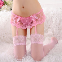Lace Floral Top Suspenders + Knee High Nylon Stockings