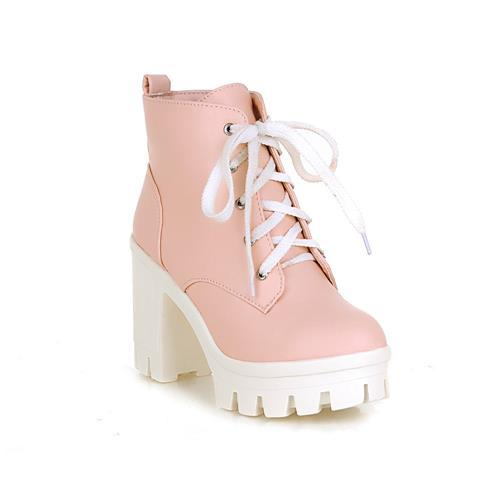 New Fashion Sexy Women's Ankle Lace Up High Heels Winter Boots