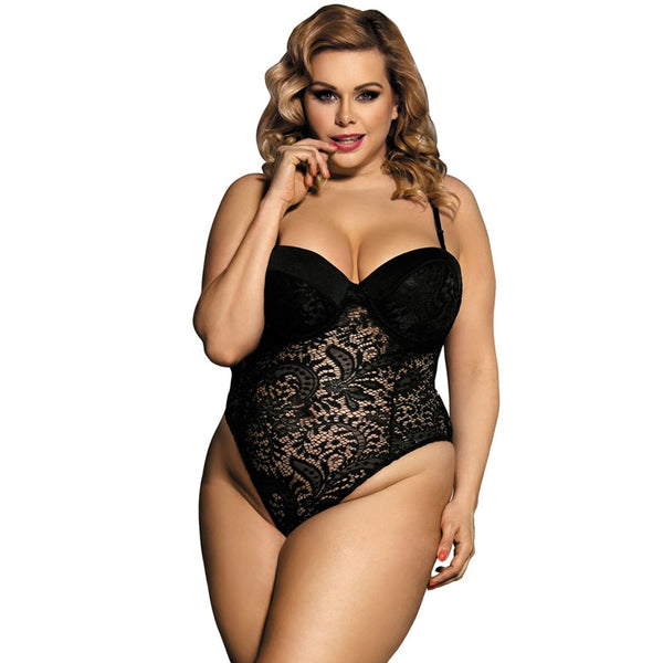 Push-up Cup Lace Floral Jumpsuit Plus Size