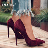 Pumps Women Shoes Red Flock Slip-On Shallow Toe High Heels