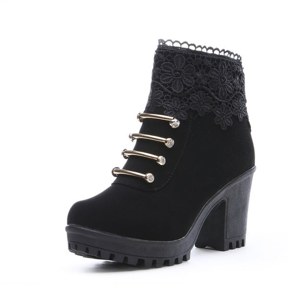 PU Leather Round Toe Ankle Boots