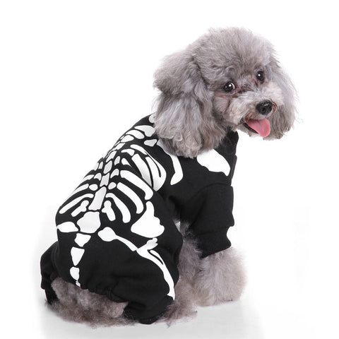 Skeleton Dog Jumpsuits & Rompers Pet Hoodies Halloween Party Dressing Up Apparel Costume