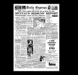 Daily Express - resignation of French premier - 1940