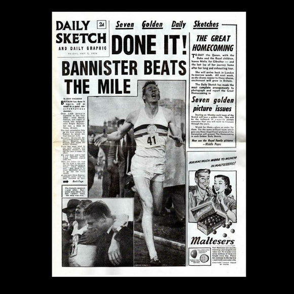 Daily Sketch - Bannister breaks the 4 min mile - 1954