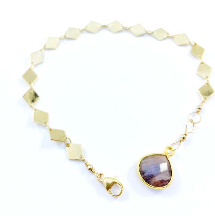 Mauve Moonstone with Diamond Chain Bracelet