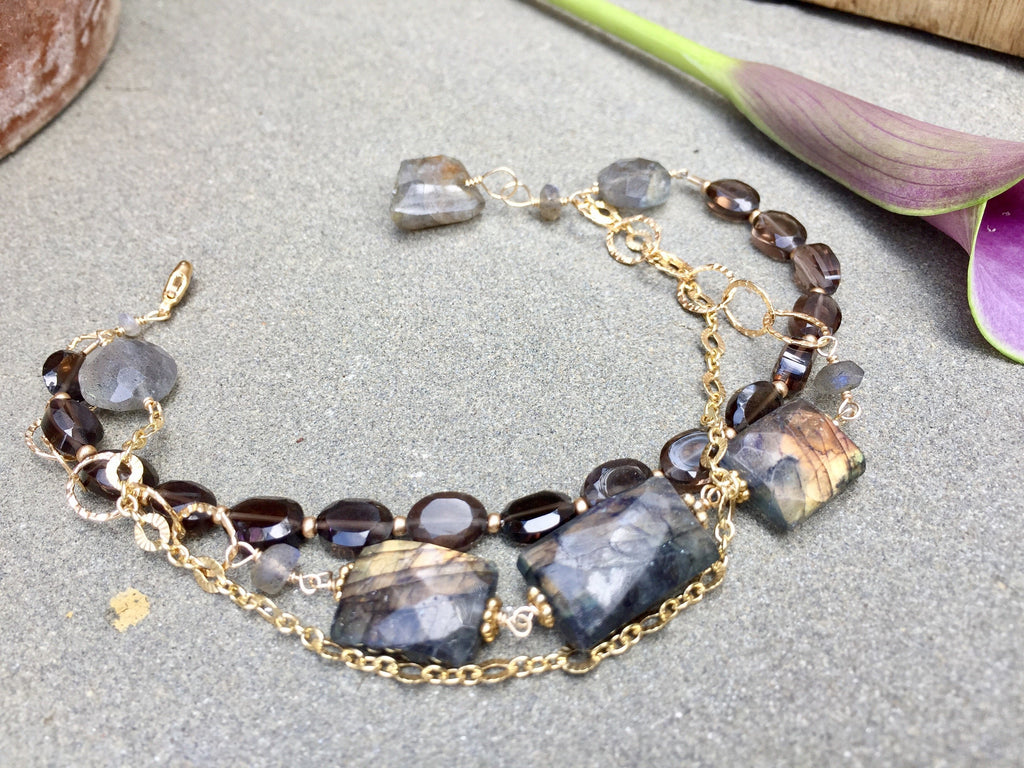 Labradorite Rectangle 3 Strand  Bracelet