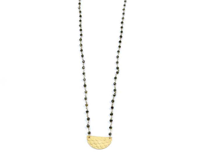 Crescent on Pyrite Chain Necklace