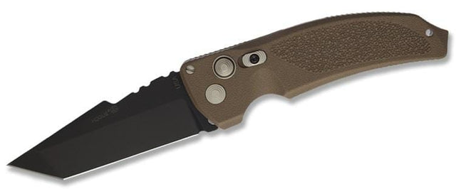 Hogue EX-A03 3.5 in., Automatic, Brown Polymer Handle, Black Tanto