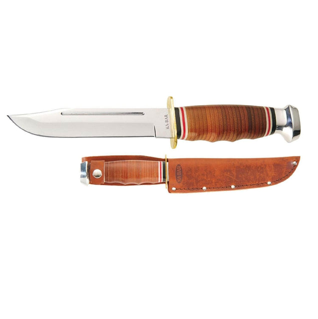 Ka-Bar Bowie Marine Hunter Fixed 5.8 in Blade Leather Handle