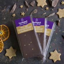 Three Gifts raw chocolate bar, 50g, with Gold, Frankincense & Myrrh, and Orange and Ginger, for focus and clarity