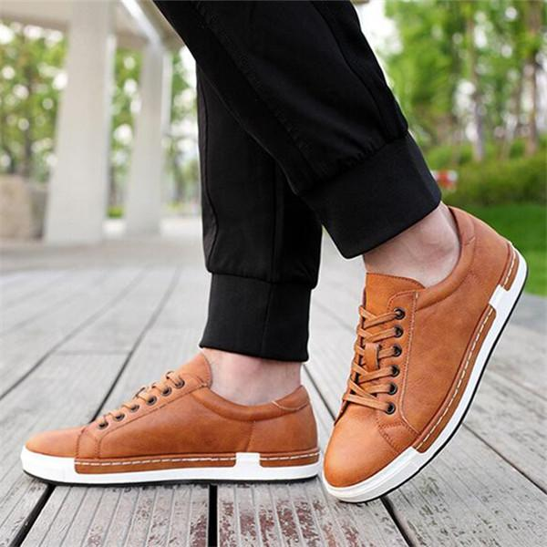 Men Large Size Leather Flat Lace-Up Oxford Shoes