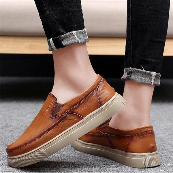 Large Size Casual Leather Comfortable Driving Casual Shoes For Men