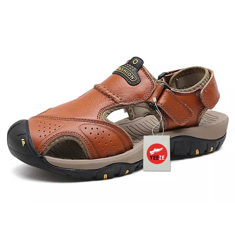 Men Anti Collision Toe Wear Resistance Outsole Comfy Casual Leather Sandals